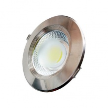 Led Cob Downlight Inox 10 W Epistar Chip Θερμό Λευκό
