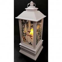 LED Χριστουγεννιάτικο Φανάρι Snowman Λευκό με Μπαταρίες