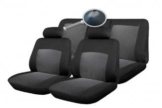 Σετ Καλύμματα Αυτοκινήτου με Φερμουάρ Πολυεστερικό 9 Τεμαχίων Μαύρο / Γκρί