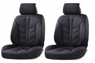 Δερμάτινη Ταπετσαρία Για Μπροστινά Καθίσματα 2 Τεμάχια Μαύρο HC