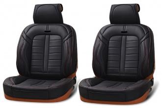 Δερμάτινη Ταπετσαρία Για Μπροστινά Καθίσματα 2 Τεμάχια Μαύρο / Κόκκινο HC