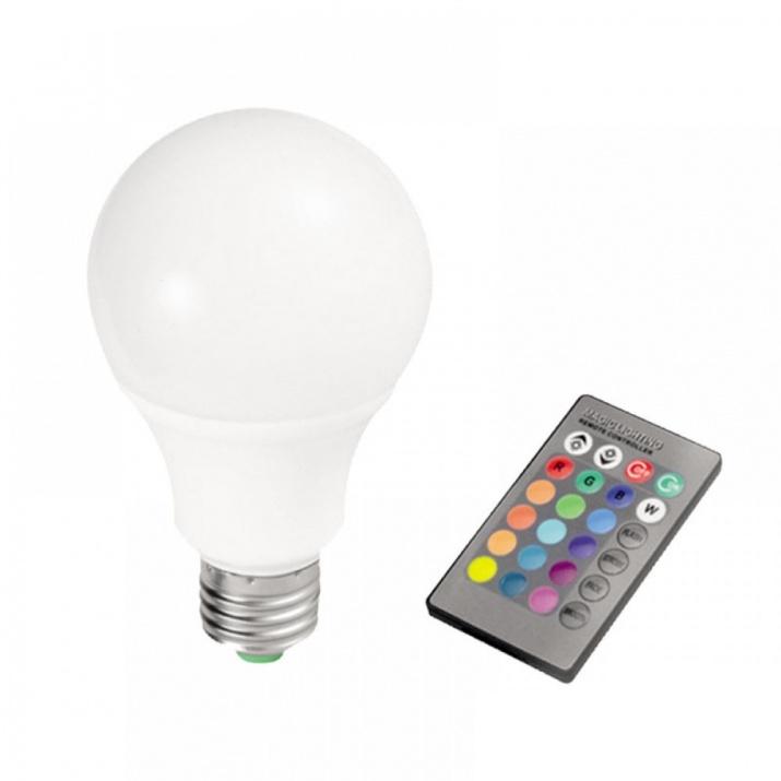 Λαμπτήρας LED Α60 E27 10 Watt RGB με Τηλεχειρισμό