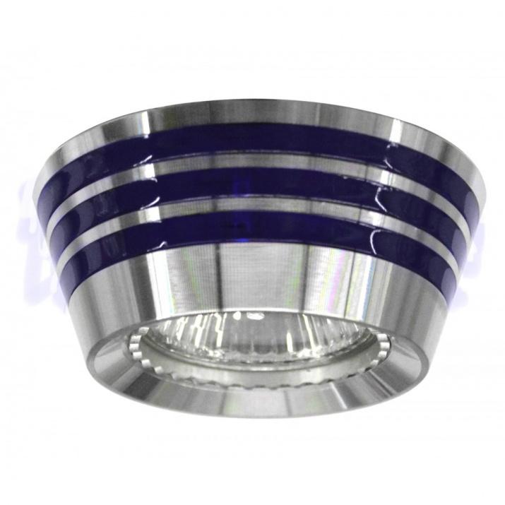 Βάση Σποτ Αλουμινίου Μπλε Ασημι στεφάνι MR16 / GU10 Φ62mm