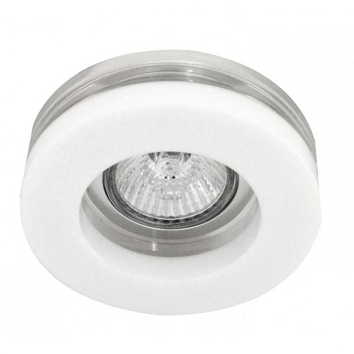 Βάση Σποτ Σταθερή Κυκλική Αλουμινίου Γυαλί Λευκή MR16