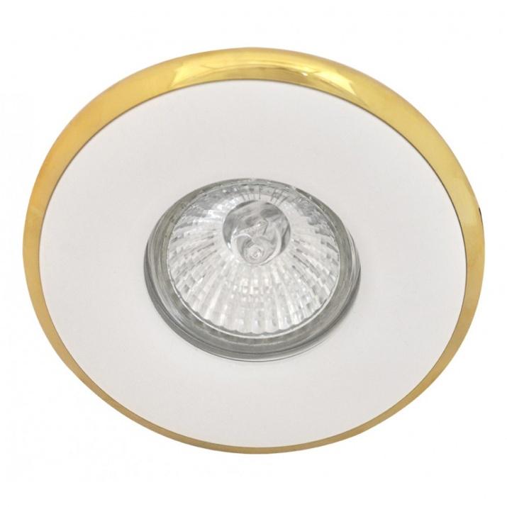 Βάση Σποτ Σταθερή Κυκλική Αλουμινίου Λευκή με Χρυσό MR16