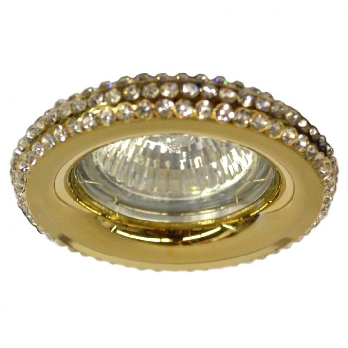 Σποτ Σταθερό MR16 Κυκλικό Χρυσό με Λευκά Κρύσταλλα