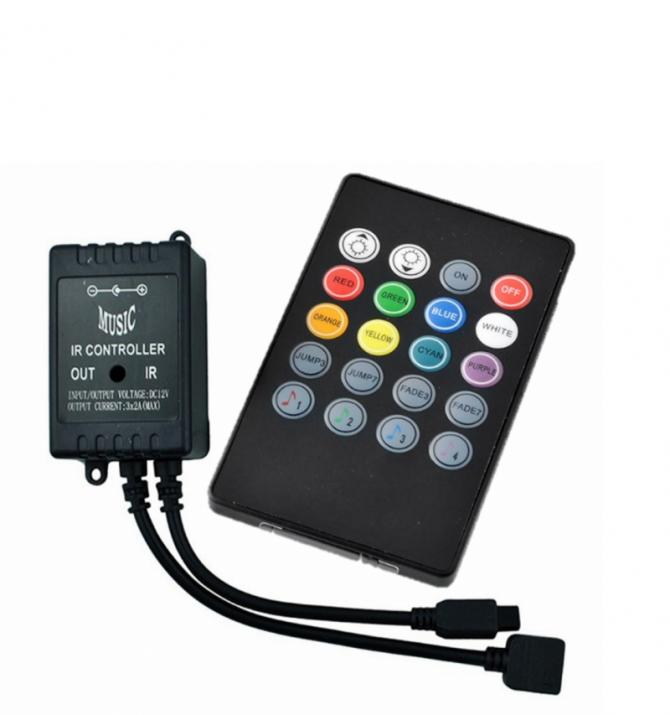 Controller Μουσικής RGB Ασύρματος 72W 12V Μαύρο