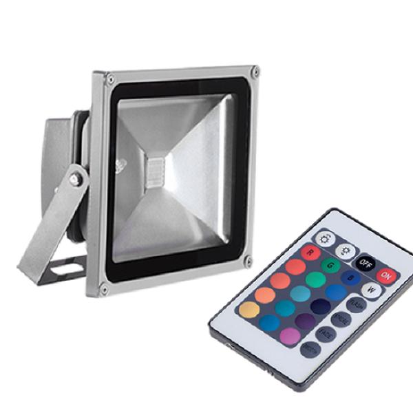 LED Προβολέας Ασημί 30W RGB με Τηλεχειριστήριο IP65