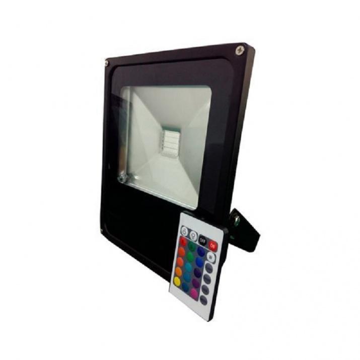 LED Προβολέας Μαύρος 10W RGB με Τηλεχειριστήριο IP65