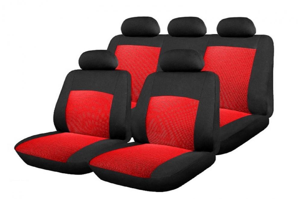 Σετ Καλύμματα Αυτοκινήτου Πολυεστερικό 6 Τεμαχίων Κόκκινο