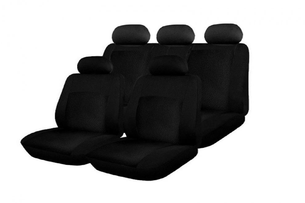 Σετ Καλύμματα Αυτοκινήτου με Φερμουάρ Πολυεστερικό 9 Τεμαχίων Μαύρο