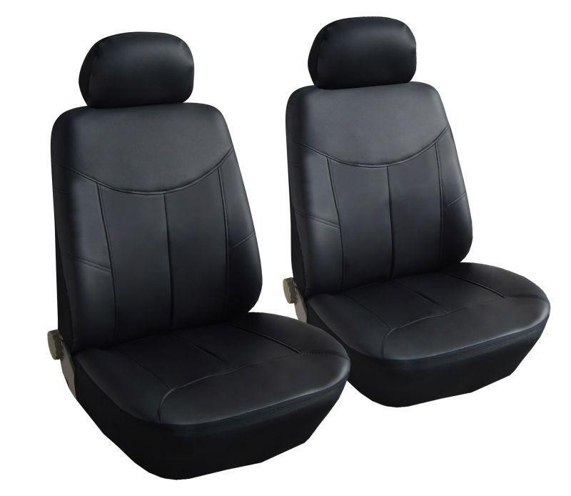 Δερμάτινη Ταπετσαρία Για Μπροστινά Καθίσματα 2 Τεμάχια Μαύρο SS