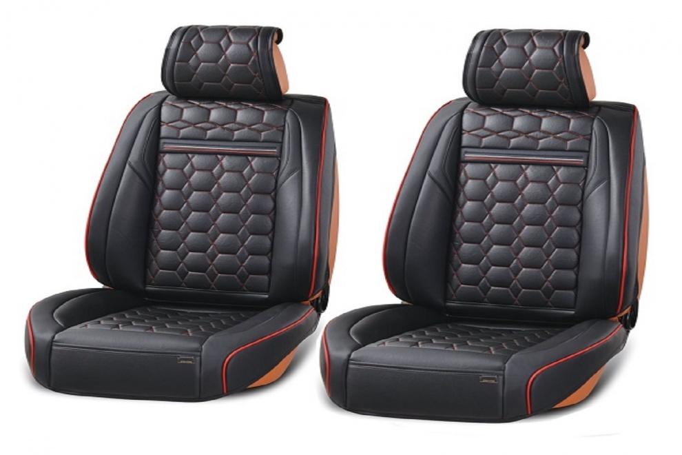 Δερμάτινη Ταπετσαρία Για Μπροστινά Καθίσματα 2 Τεμάχια Μαύρο με Ρόμβους