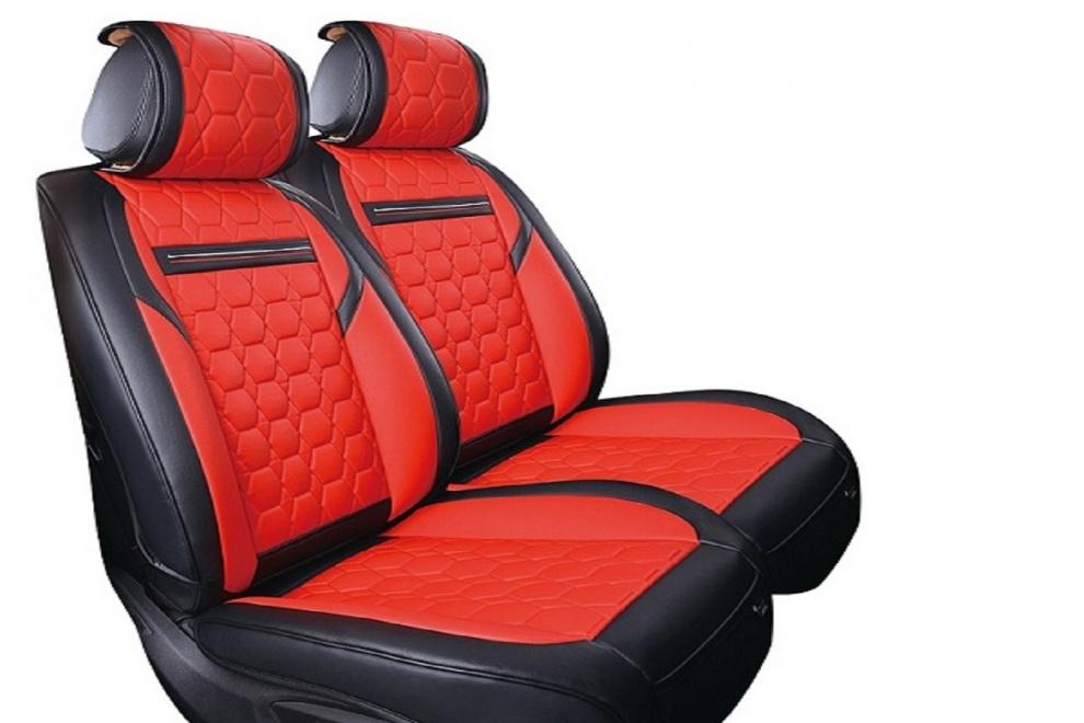 Δερμάτινη Ταπετσαρία Για Μπροστινά Καθίσματα 2 Τεμάχια Κόκκινο